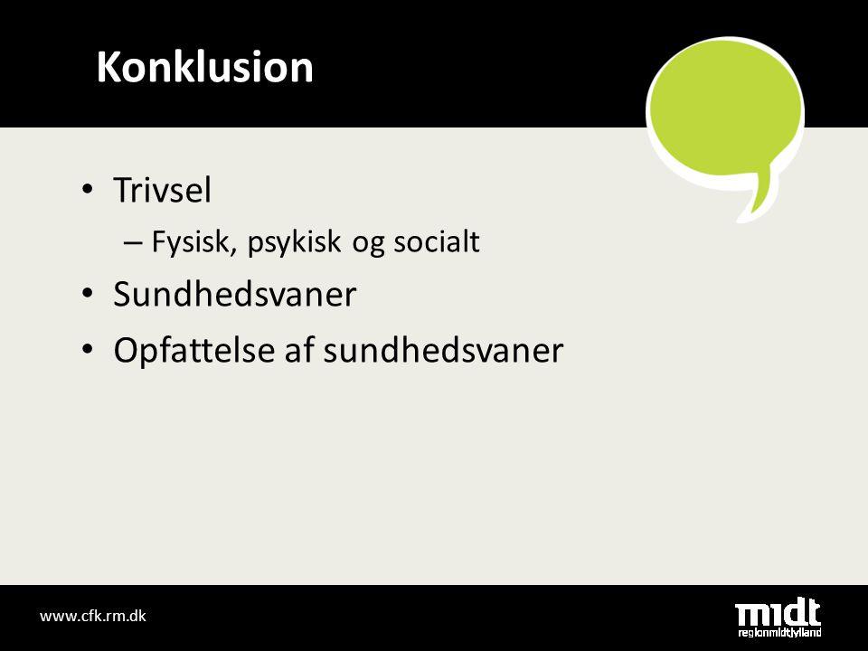 • Trivsel – Fysisk, psykisk og socialt • Sundhedsvaner • Opfattelse af sundhedsvaner Konklusion www.cfk.rm.dk