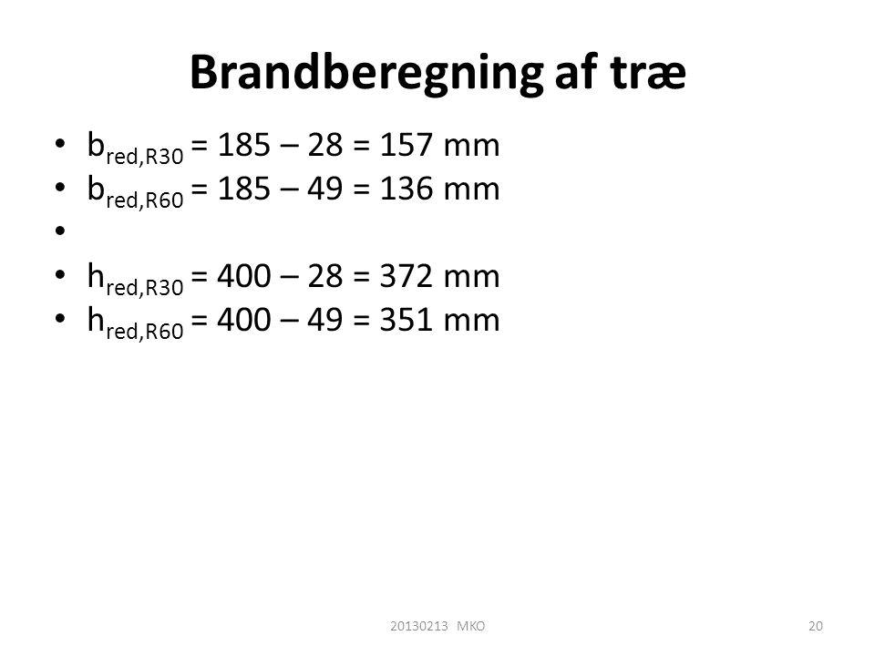 Brandberegning af træ • b red,R30 = 185 – 28 = 157 mm • b red,R60 = 185 – 49 = 136 mm • • h red,R30 = 400 – 28 = 372 mm • h red,R60 = 400 – 49 = 351 m