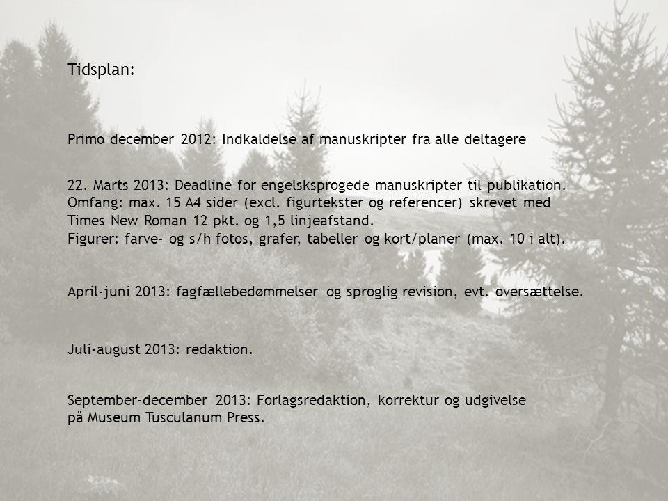 Tidsplan: Primo december 2012: Indkaldelse af manuskripter fra alle deltagere 22.
