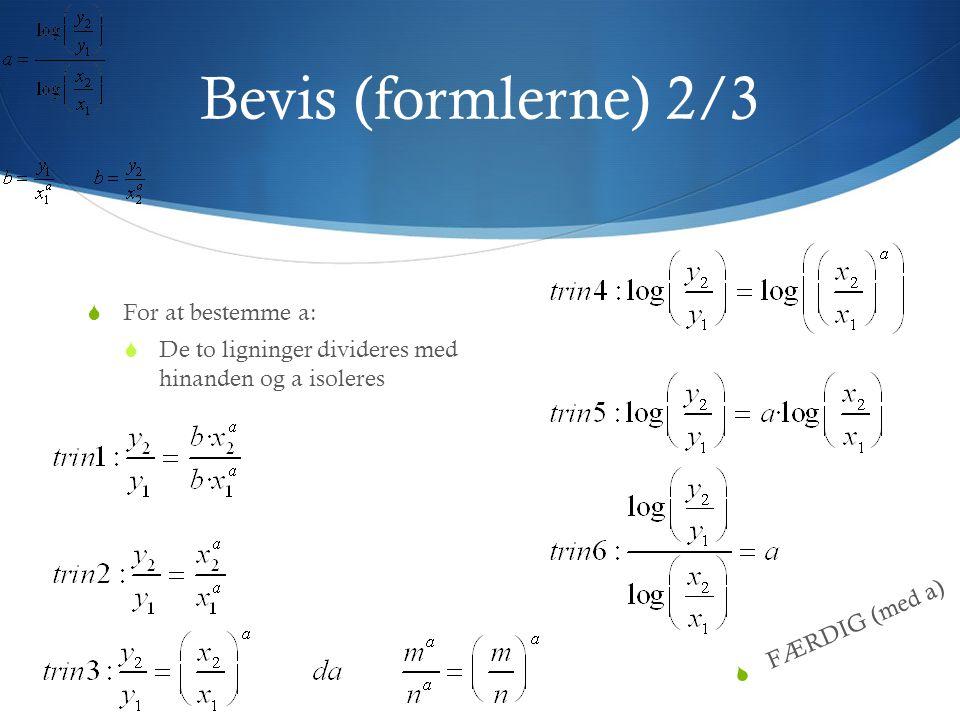 Bevis (formlerne) 3/3 FFor at bestemme b: bb isoleres i en af de to ligninger, vi startede med  FÆRDIG (med b)
