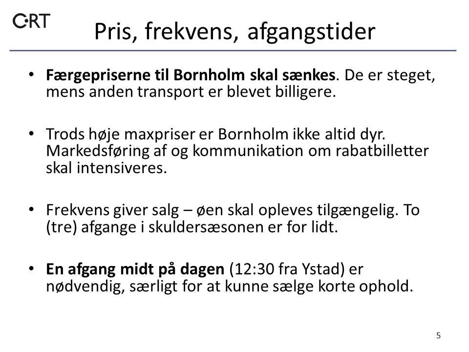 Pris, frekvens, afgangstider 5 • Færgepriserne til Bornholm skal sænkes.