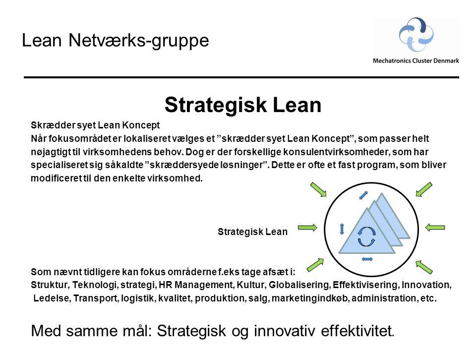"""Lean Netværks-gruppe Strategisk Lean Skrædder syet Lean Koncept Når fokusområdet er lokaliseret vælges et """"skrædder syet Lean Koncept"""", som passer hel"""