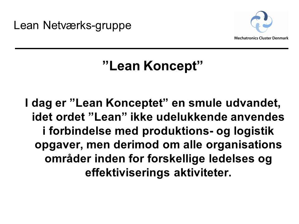 """Lean Netværks-gruppe """"Lean Koncept"""" I dag er """"Lean Konceptet"""" en smule udvandet, idet ordet """"Lean"""" ikke udelukkende anvendes i forbindelse med produkt"""