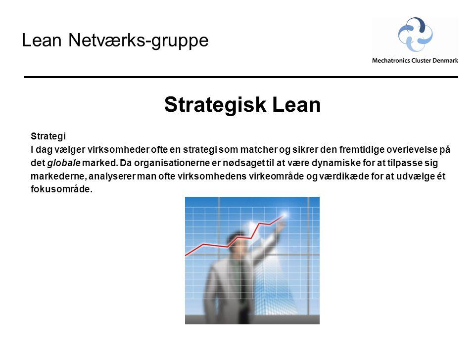 Lean Netværks-gruppe Strategisk Lean Skrædder syet Lean Koncept Når fokusområdet er lokaliseret vælges et skrædder syet Lean Koncept , som passer helt nøjagtigt til virksomhedens behov.