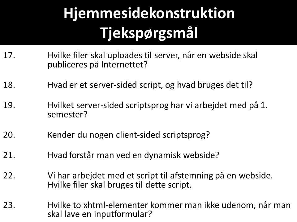 Hjemmesidekonstruktion Tjekspørgsmål 17.Hvilke filer skal uploades til server, når en webside skal publiceres på Internettet.