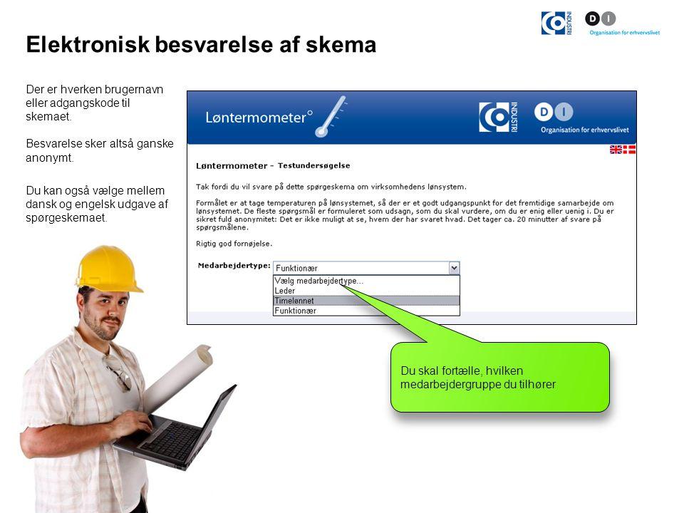 Elektronisk besvarelse af skema Der er hverken brugernavn eller adgangskode til skemaet.