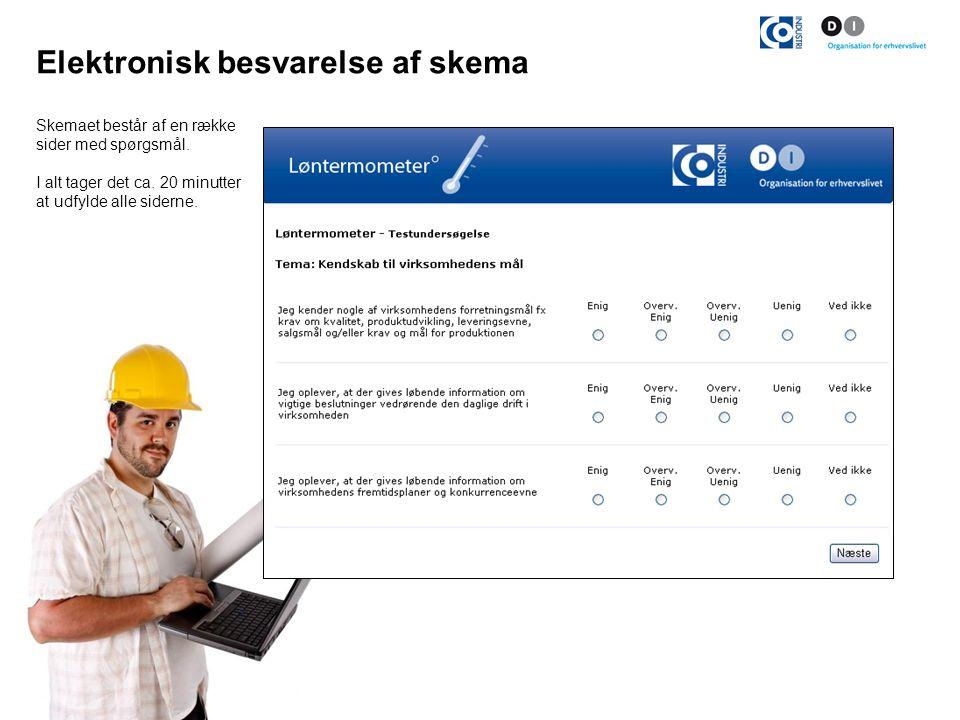 Elektronisk besvarelse af skema Skemaet består af en række sider med spørgsmål.