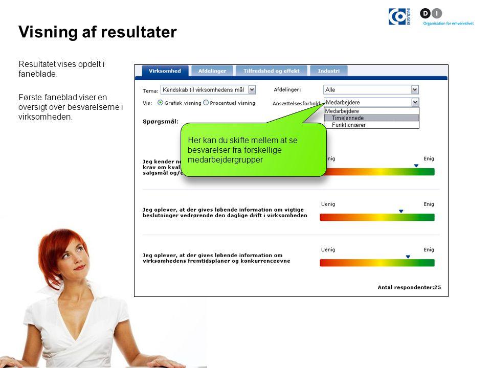 Visning af resultater Resultatet vises opdelt i faneblade.