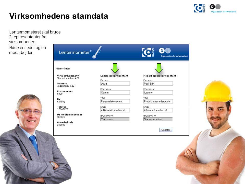 Virksomhedens stamdata Løntermometeret skal bruge 2 repræsentanter fra virksomheden.