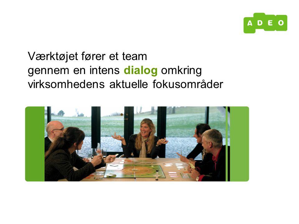 Værktøjet fører et team gennem en intens dialog omkring virksomhedens aktuelle fokusområder