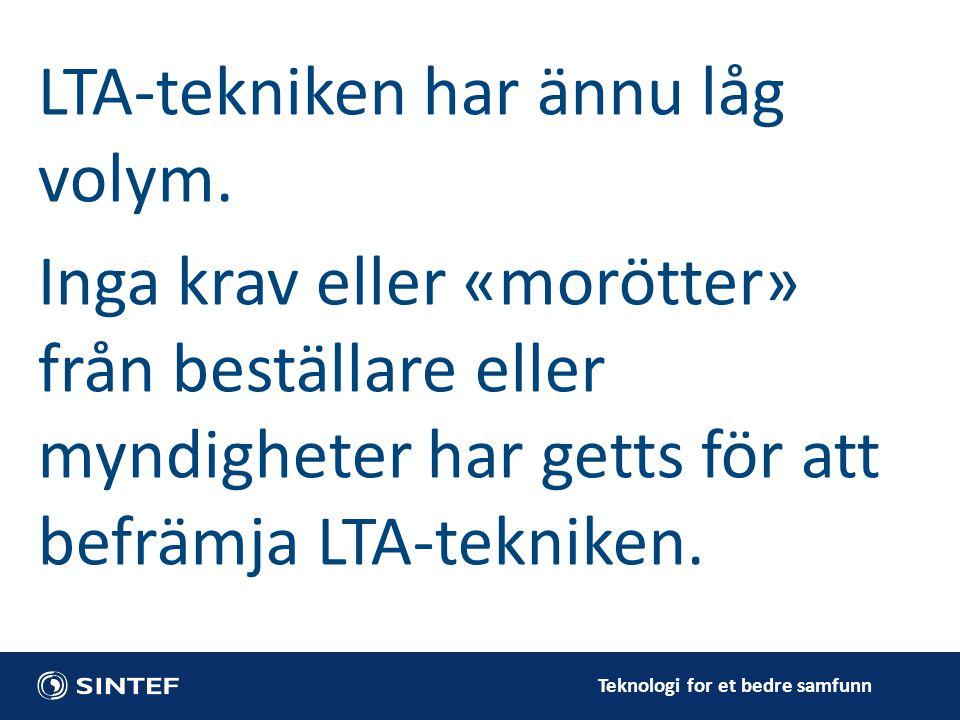 Teknologi for et bedre samfunn LTA-tekniken har ännu låg volym.