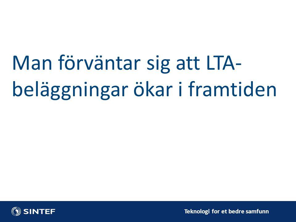 Teknologi for et bedre samfunn Man förväntar sig att LTA- beläggningar ökar i framtiden