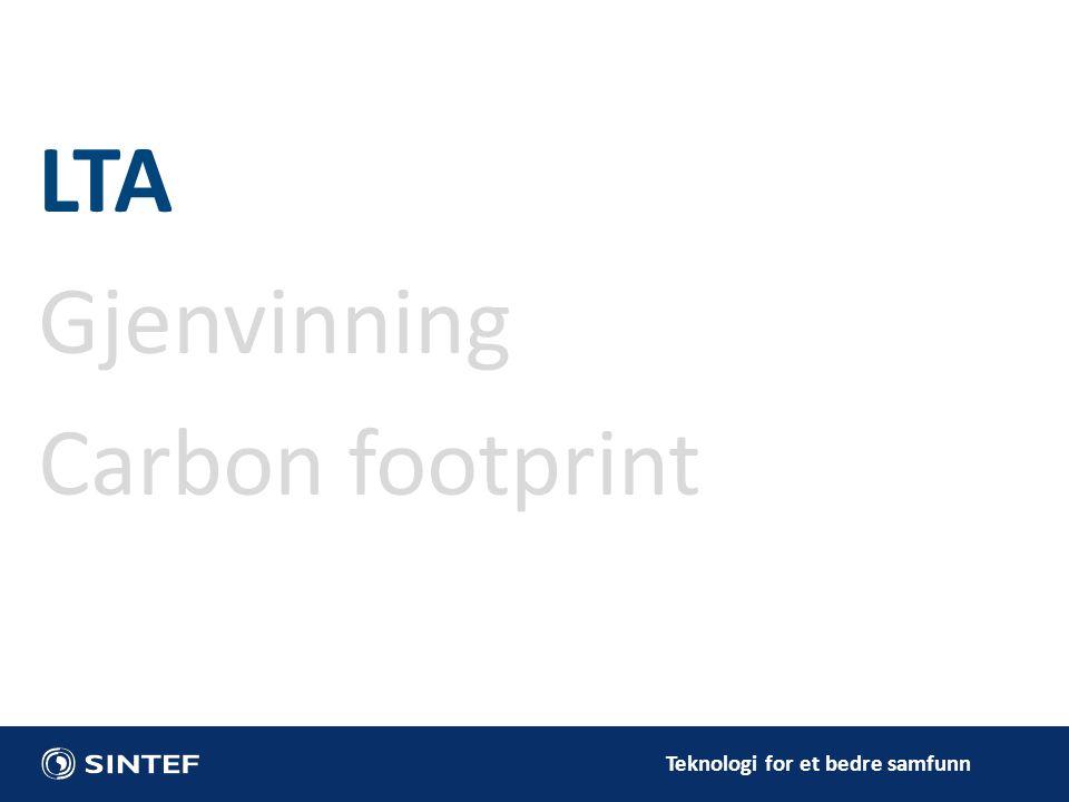 Teknologi for et bedre samfunn LTA Gjenvinning Carbon footprint