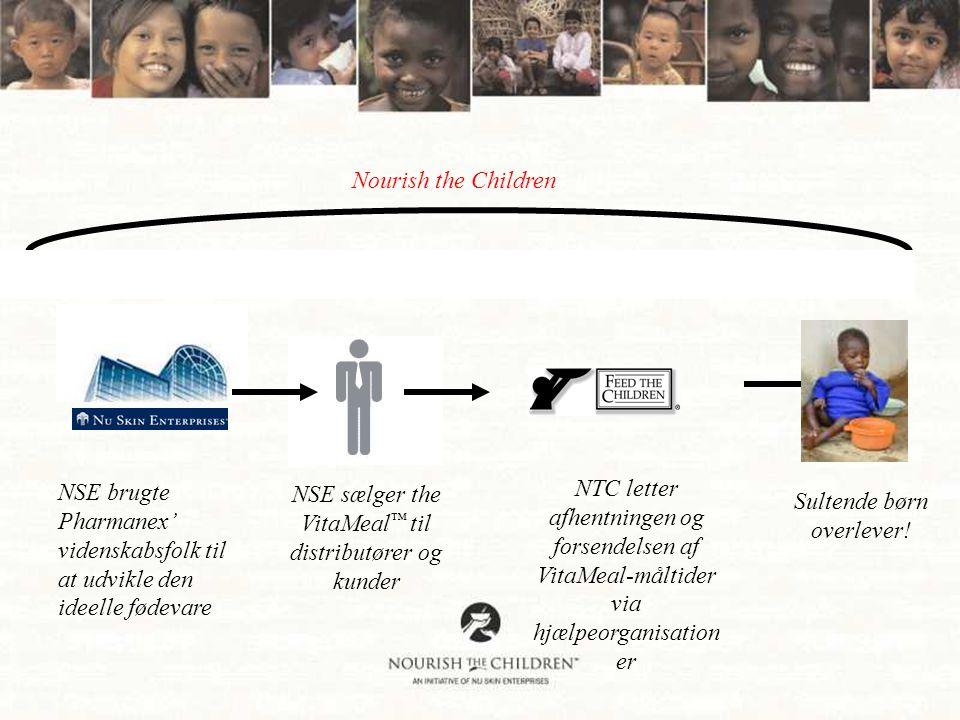 Nourish the Children NSE brugte Pharmanex' videnskabsfolk til at udvikle den ideelle fødevare NSE sælger the VitaMeal ™ til distributører og kunder NTC letter afhentningen og forsendelsen af VitaMeal-måltider via hjælpeorganisation er Sultende børn overlever!