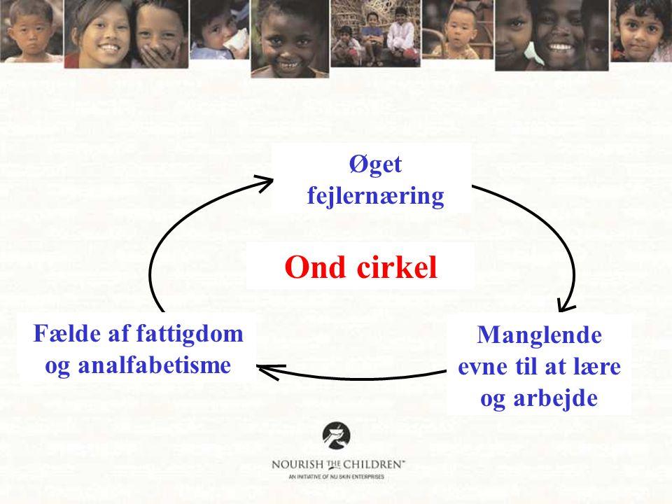 Lack of Nutritious Food Ond cirkel Vitamin Deficiencies Infections/Diarrhea Can't AbsorbNutrients Øget fejlernæring Manglende evne til at lære og arbejde Fælde af fattigdom og analfabetisme
