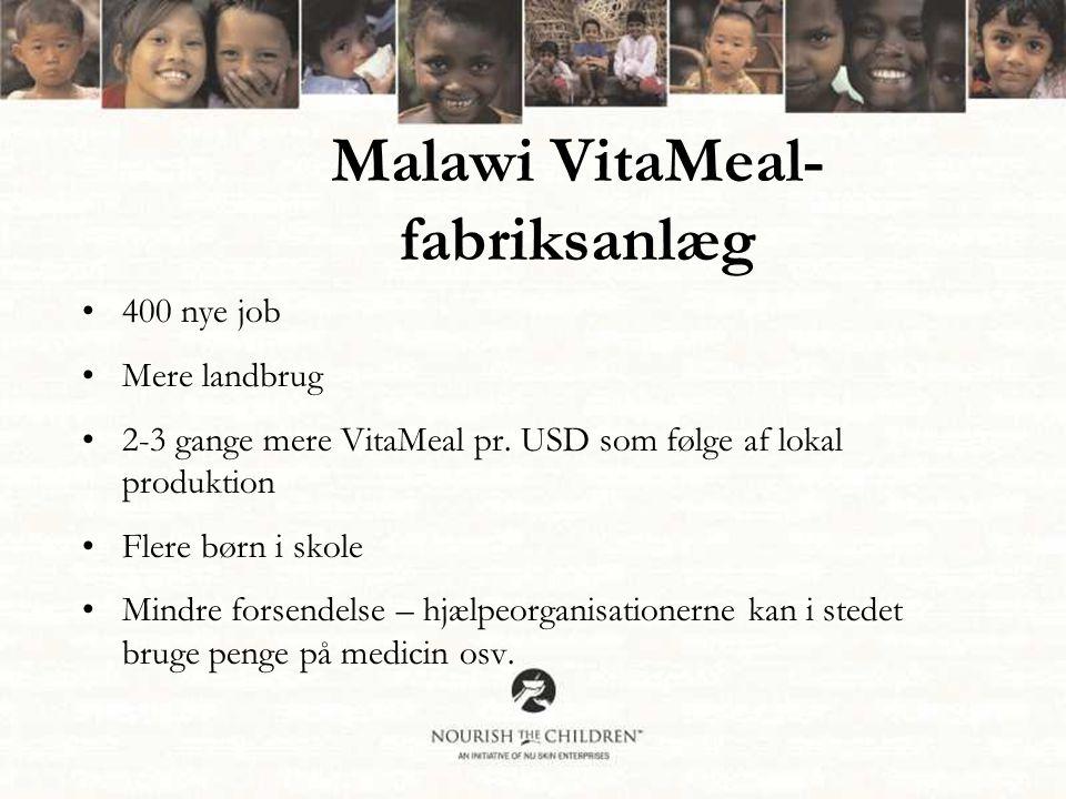 Malawi VitaMeal- fabriksanlæg •400 nye job •Mere landbrug •2-3 gange mere VitaMeal pr.