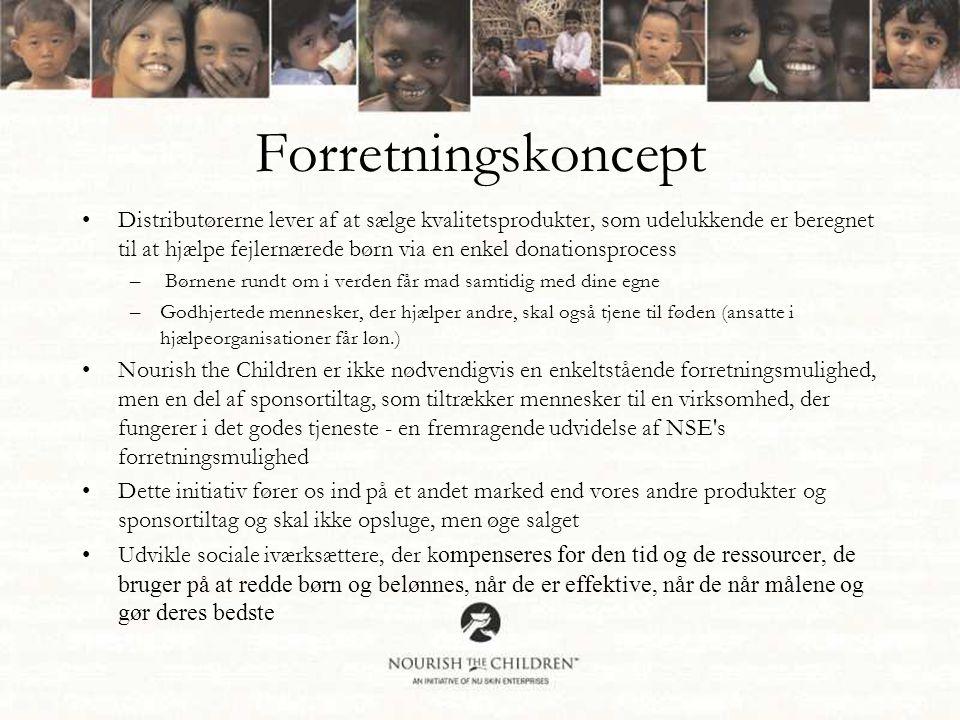 Forretningskoncept •Distributørerne lever af at sælge kvalitetsprodukter, som udelukkende er beregnet til at hjælpe fejlernærede børn via en enkel donationsprocess – Børnene rundt om i verden får mad samtidig med dine egne –Godhjertede mennesker, der hjælper andre, skal også tjene til føden (ansatte i hjælpeorganisationer får løn.) •Nourish the Children er ikke nødvendigvis en enkeltstående forretningsmulighed, men en del af sponsortiltag, som tiltrækker mennesker til en virksomhed, der fungerer i det godes tjeneste - en fremragende udvidelse af NSE s forretningsmulighed •Dette initiativ fører os ind på et andet marked end vores andre produkter og sponsortiltag og skal ikke opsluge, men øge salget •Udvikle sociale iværksættere, der k ompenseres for den tid og de ressourcer, de bruger på at redde børn og belønnes, når de er effektive, når de når målene og gør deres bedste
