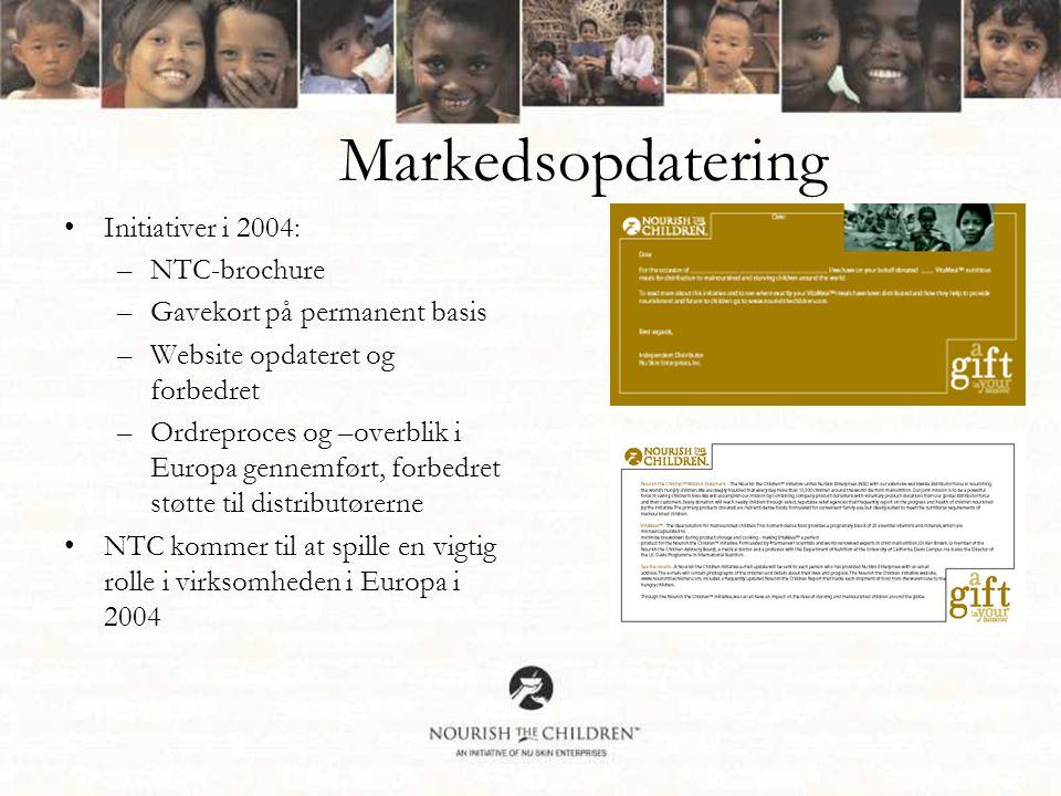 Markedsopdatering •Initiativer i 2004: –NTC-brochure –Gavekort på permanent basis –Website opdateret og forbedret –Ordreproces og –overblik i Europa gennemført, forbedret støtte til distributørerne •NTC kommer til at spille en vigtig rolle i virksomheden i Europa i 2004