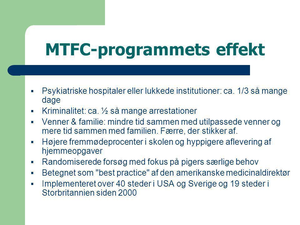 MTFC-programmets effekt  Psykiatriske hospitaler eller lukkede institutioner: ca.