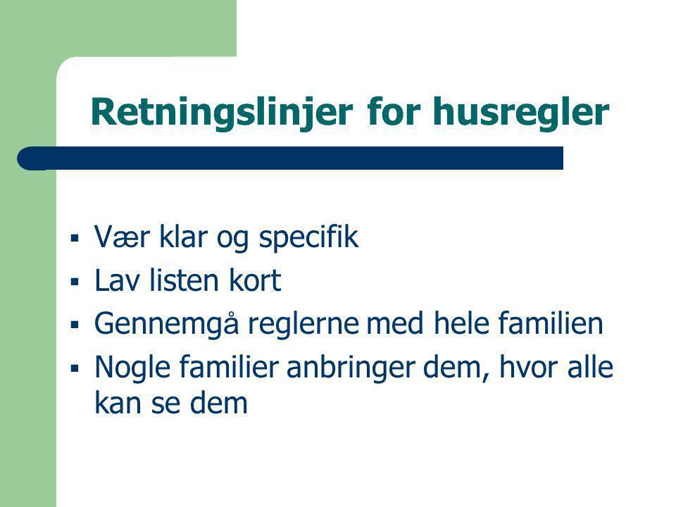Retningslinjer for husregler  V æ r klar og specifik  Lav listen kort  Gennemg å reglerne med hele familien  Nogle familier anbringer dem, hvor alle kan se dem