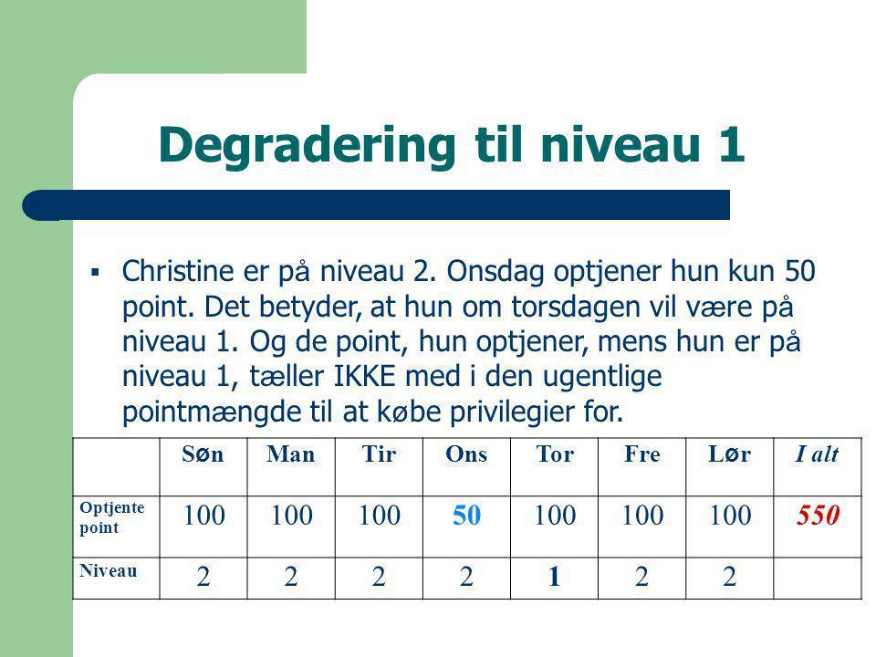 Degradering til niveau 1 SønSøn ManTirOnsTorFre LørLør I alt Optjente point 100 50100 550 Niveau 2222122  Christine er p å niveau 2.