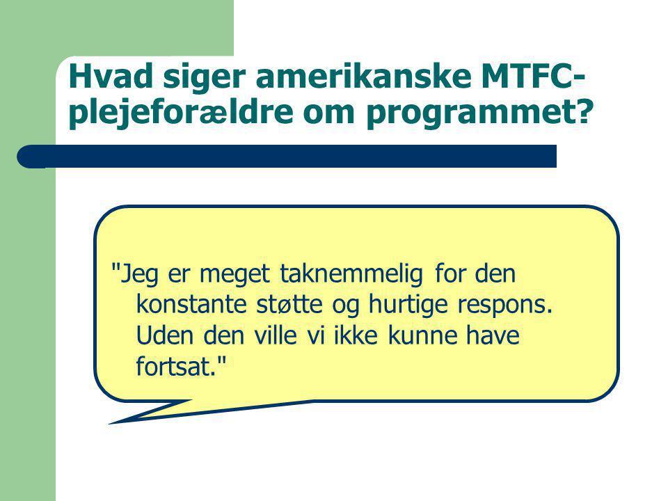 Hvad siger amerikanske MTFC- plejefor æ ldre om programmet.