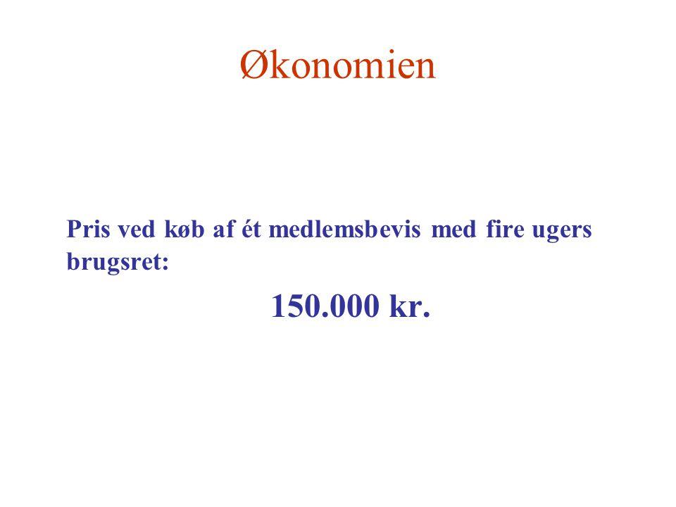 Økonomien Pris ved køb af ét medlemsbevis med fire ugers brugsret: 150.000 kr.