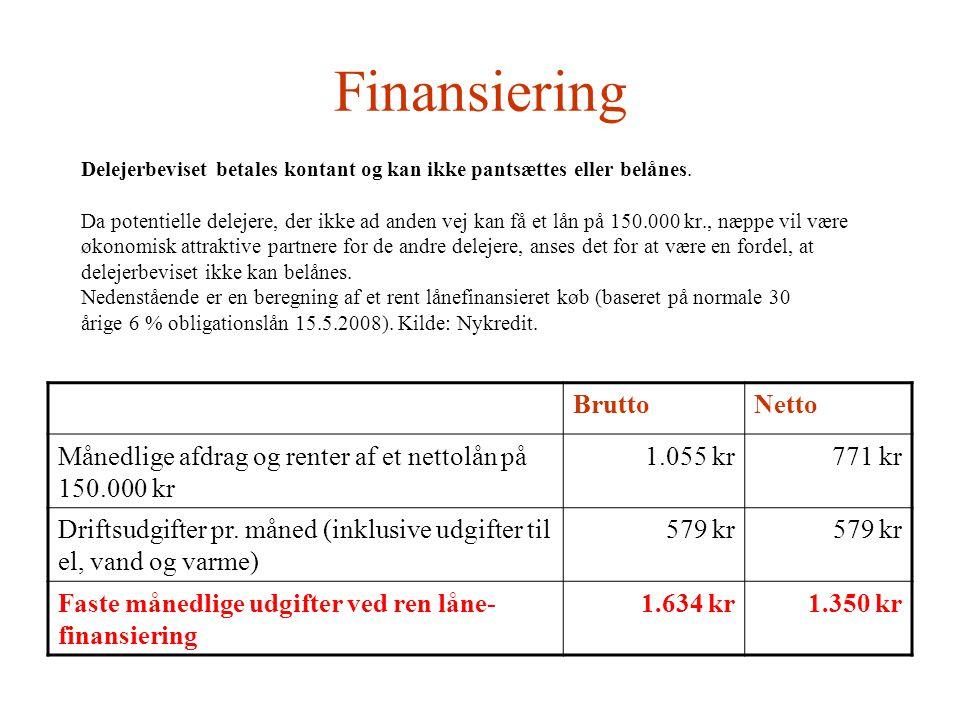 Finansiering Delejerbeviset betales kontant og kan ikke pantsættes eller belånes.
