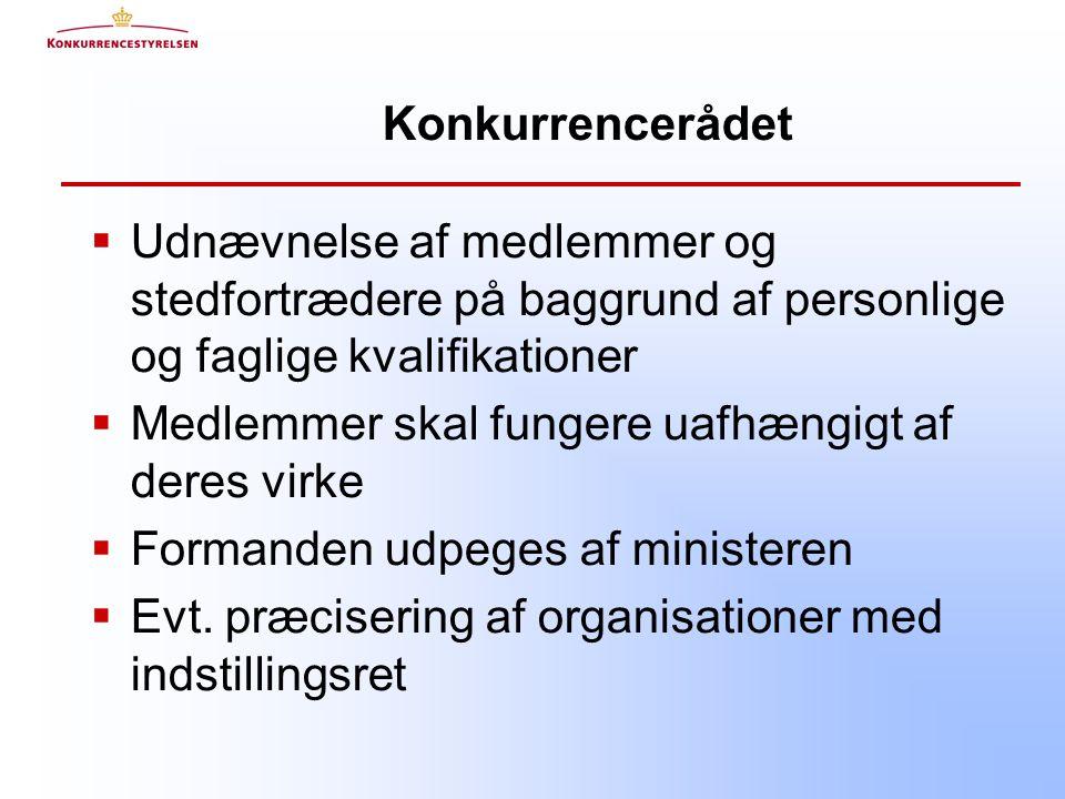 Konkurrencerådet  Udnævnelse af medlemmer og stedfortrædere på baggrund af personlige og faglige kvalifikationer  Medlemmer skal fungere uafhængigt af deres virke  Formanden udpeges af ministeren  Evt.