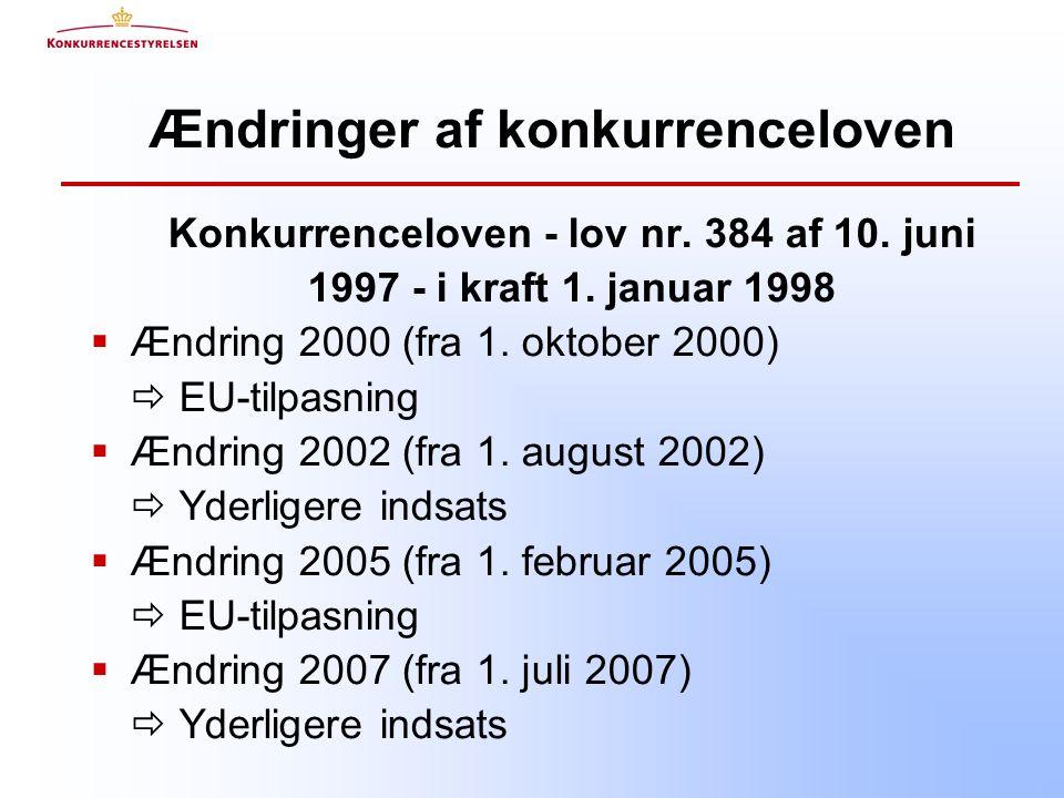 Ændringer af konkurrenceloven Konkurrenceloven - lov nr.