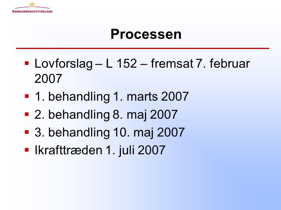 Processen  Lovforslag – L 152 – fremsat 7. februar 2007  1.