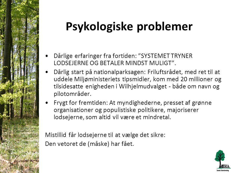 Psykologiske problemer •Dårlige erfaringer fra fortiden: SYSTEMET TRYNER LODSEJERNE OG BETALER MINDST MULIGT .