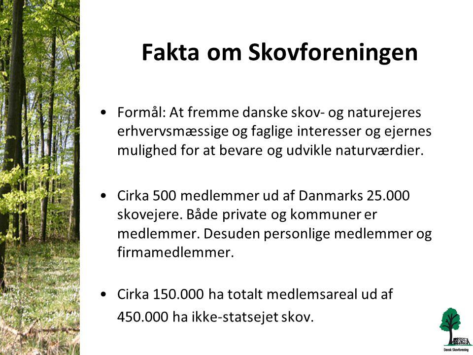 Fakta om Skovforeningen •Formål: At fremme danske skov- og naturejeres erhvervsmæssige og faglige interesser og ejernes mulighed for at bevare og udvikle naturværdier.