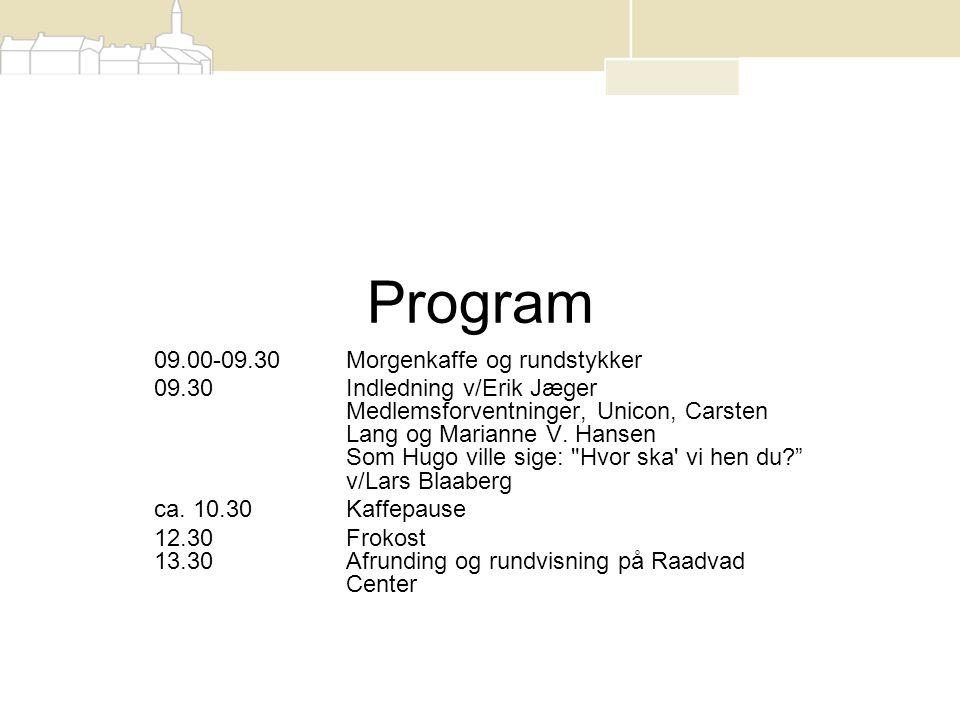 Program 09.00-09.30Morgenkaffe og rundstykker 09.30 Indledning v/Erik Jæger Medlemsforventninger, Unicon, Carsten Lang og Marianne V.