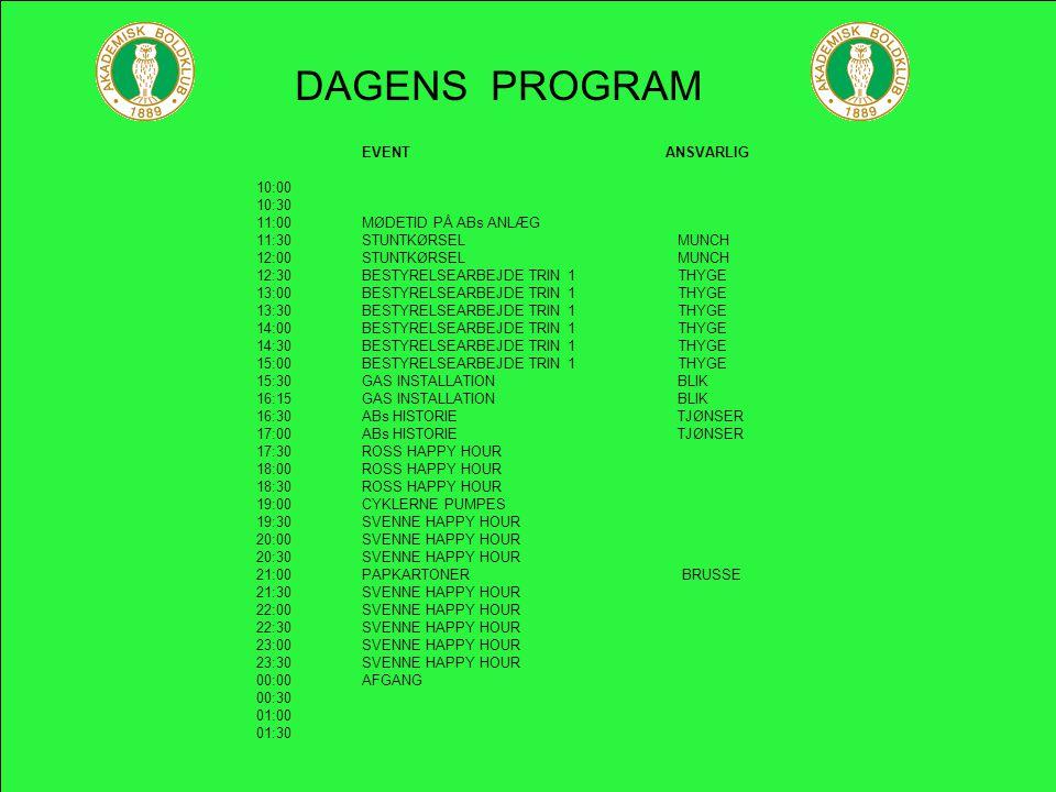 FODBOLDAFSLUTNING 2005 EVENT AFDELINGEN TILBYDER FØLGENDE ABs HISTORIE GENNEM 100 ÅR MED LARS TJØNSER (FOREDRAGET VARE CIRKA 9 TIMER) PAPKARTONER PÅ 101 MÅDER VED BRUSSE (MEDBRING SELV GASMASKE) STUNTKØRSEL MED MUNCH (EGEN BIL STILLES TILRÅDIGHED)RENE BUKSER ER ET MUST HVORDAN FÅR MAN EN GAS-INSTALLATION TIL AT SE PÆN UD (TEORI&PRAKTIK) : V/ ONKEL JOHN BESTYRELSEARBEJDE TRIN 1 FOR UØVET OG BEGYNDERE : V/ THYGE JR.