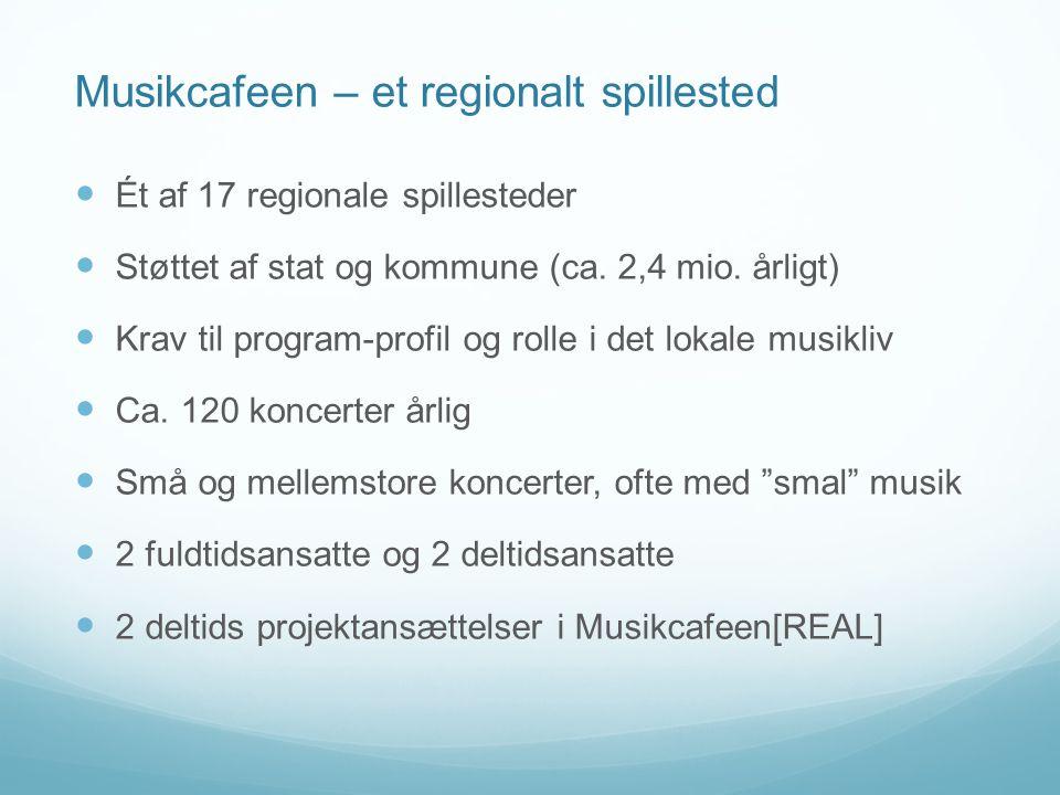 Musikcafeen – et regionalt spillested  Ét af 17 regionale spillesteder  Støttet af stat og kommune (ca.