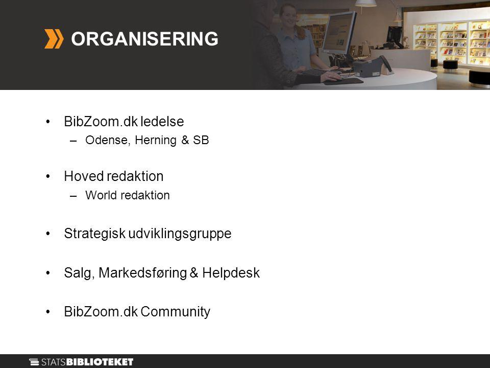 •BibZoom.dk ledelse –Odense, Herning & SB •Hoved redaktion –World redaktion •Strategisk udviklingsgruppe •Salg, Markedsføring & Helpdesk •BibZoom.dk Community ORGANISERING