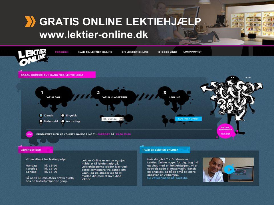 GRATIS ONLINE LEKTIEHJÆLP www.lektier-online.dk