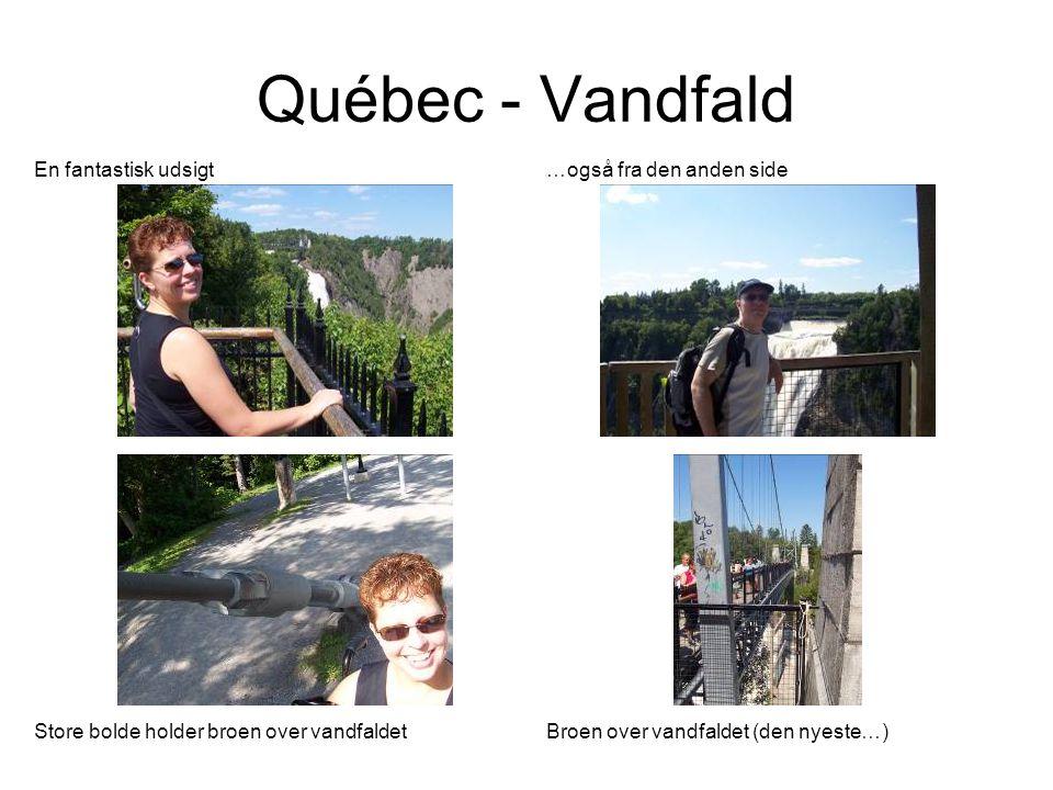 Québec - Vandfald En fantastisk udsigt …også fra den anden side Store bolde holder broen over vandfaldetBroen over vandfaldet (den nyeste…)