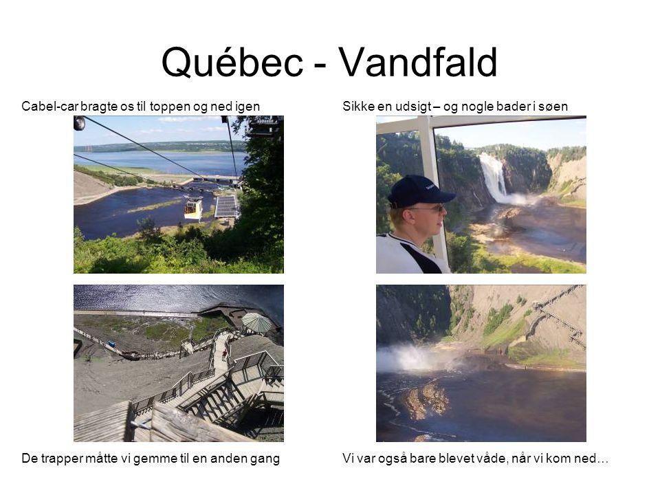 Québec - Vandfald Cabel-car bragte os til toppen og ned igen Sikke en udsigt – og nogle bader i søen De trapper måtte vi gemme til en anden gangVi var også bare blevet våde, når vi kom ned…