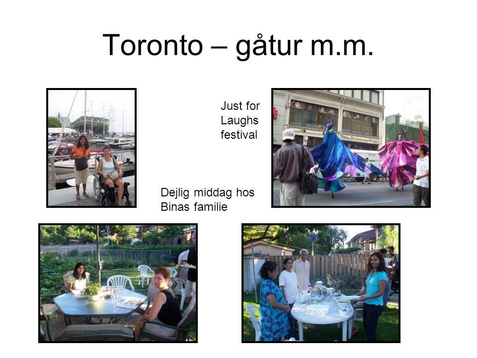 Toronto – gåtur m.m. Dejlig middag hos Binas familie Just for Laughs festival