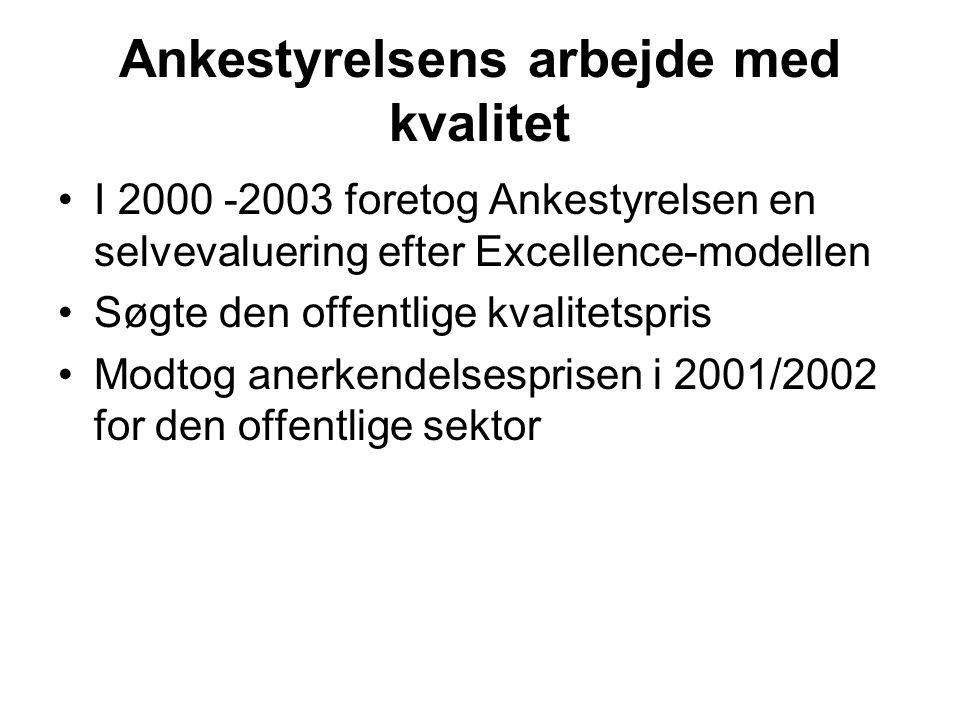 Ankestyrelsens arbejde med kvalitet •I 2000 -2003 foretog Ankestyrelsen en selvevaluering efter Excellence-modellen •Søgte den offentlige kvalitetspris •Modtog anerkendelsesprisen i 2001/2002 for den offentlige sektor