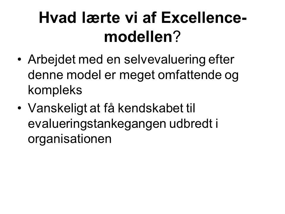 Hvad lærte vi af Excellence- modellen.