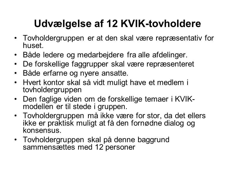 Udvælgelse af 12 KVIK-tovholdere •Tovholdergruppen er at den skal være repræsentativ for huset.