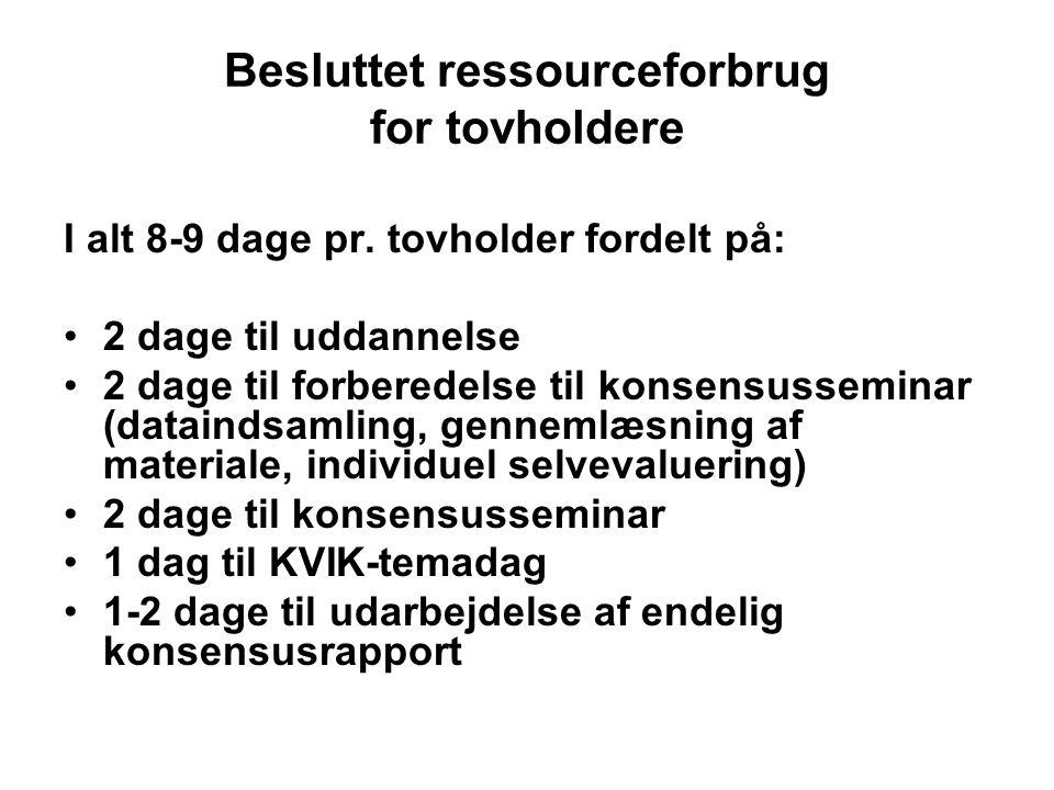 Besluttet ressourceforbrug for tovholdere I alt 8-9 dage pr.