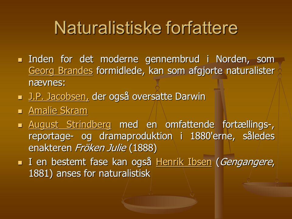 Naturalistiske forfattere  Inden for det moderne gennembrud i Norden, som Georg Brandes formidlede, kan som afgjorte naturalister nævnes: Georg Brandes Georg Brandes  J.P.