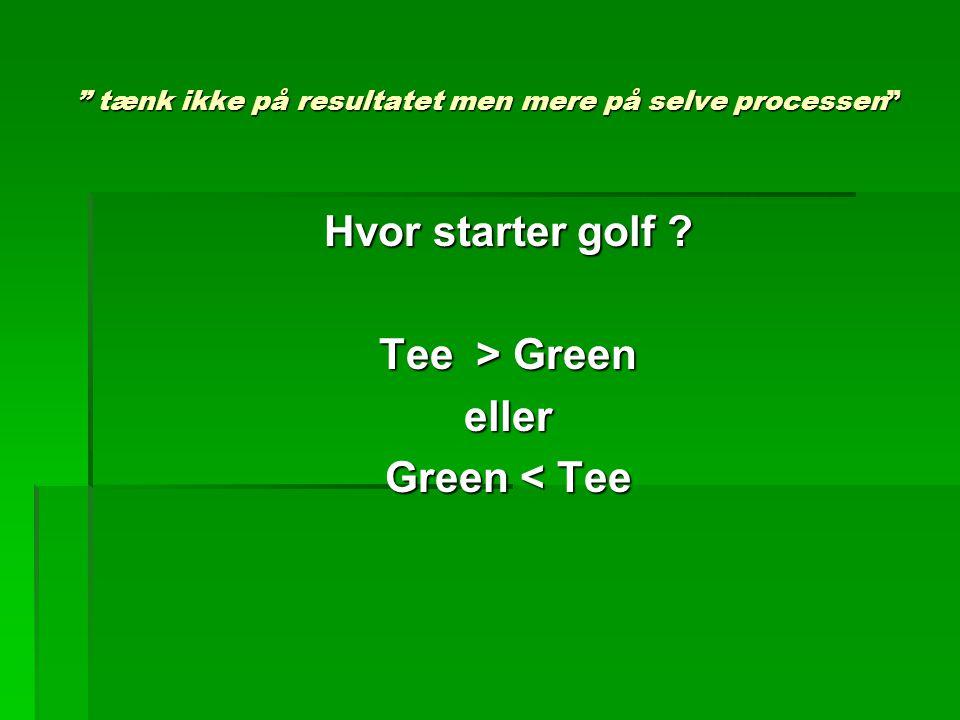 tænk ikke på resultatet men mere på selve processen Hvor starter golf .