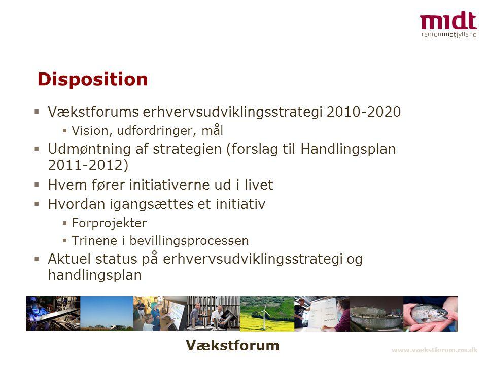 Vækstforum www.vaekstforum.rm.dk Disposition  Vækstforums erhvervsudviklingsstrategi 2010-2020  Vision, udfordringer, mål  Udmøntning af strategien (forslag til Handlingsplan 2011-2012)  Hvem fører initiativerne ud i livet  Hvordan igangsættes et initiativ  Forprojekter  Trinene i bevillingsprocessen  Aktuel status på erhvervsudviklingsstrategi og handlingsplan