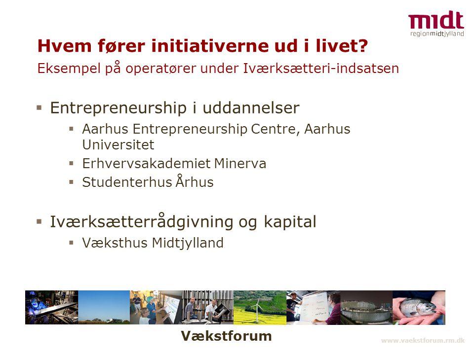 Vækstforum www.vaekstforum.rm.dk Hvem fører initiativerne ud i livet.