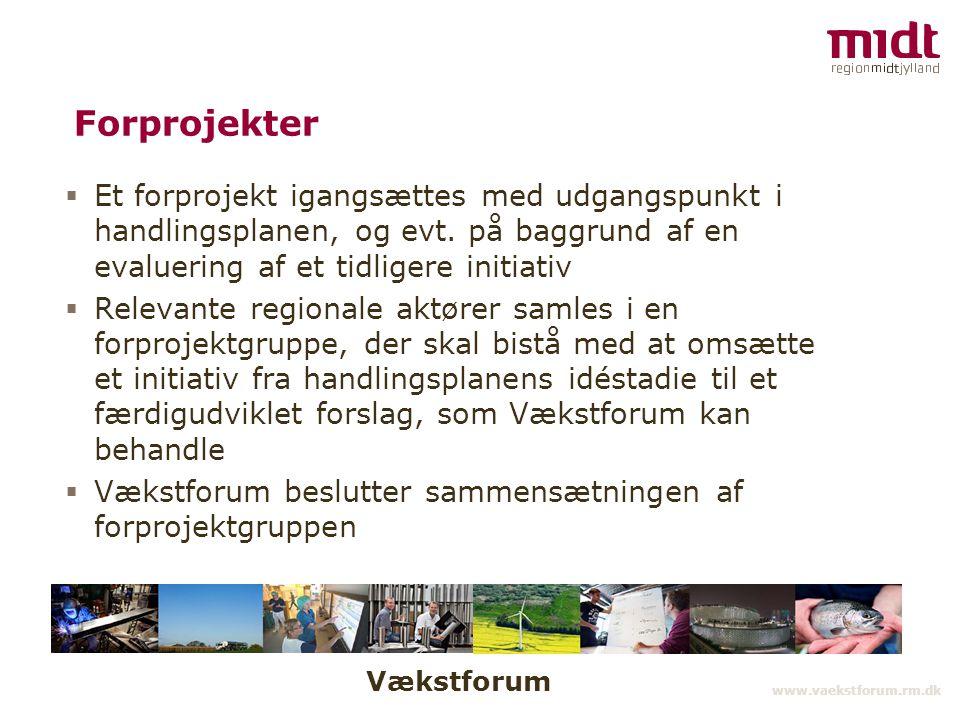 Vækstforum www.vaekstforum.rm.dk Forprojekter  Et forprojekt igangsættes med udgangspunkt i handlingsplanen, og evt.